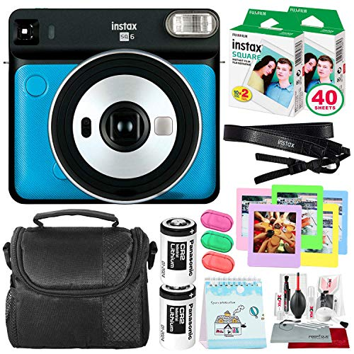 Fujifilm instax Square SQ6 Instant Film Camera (Metallic Blue) + 40 Sheet Square Instant Film + Camera Bag + Deluxe Bundle (USA Warrantty)