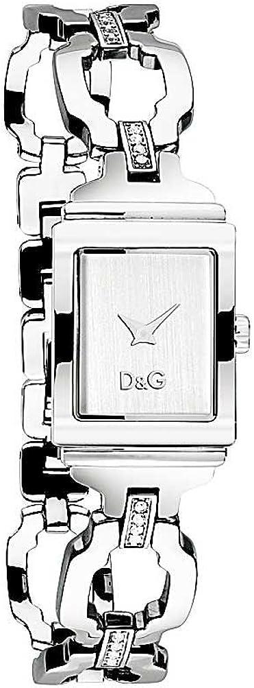 D&G Dolce&Gabbana DW0333 - Reloj analógico de mujer de cuarzo con correa de acero inoxidable plateada