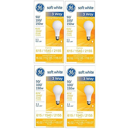 (GE 97494 Lighting 50/100/150-Watt, 3-Way Light Bulb, Soft White, 4-Pack)