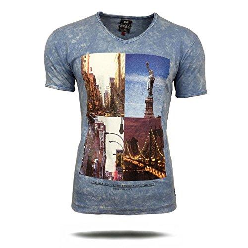 Polo T-Shirt Shirt Herren New York Amerika bedruckt Motiv Kurzarm A16734 Avroni, Größe:XL, Farbe:Blau