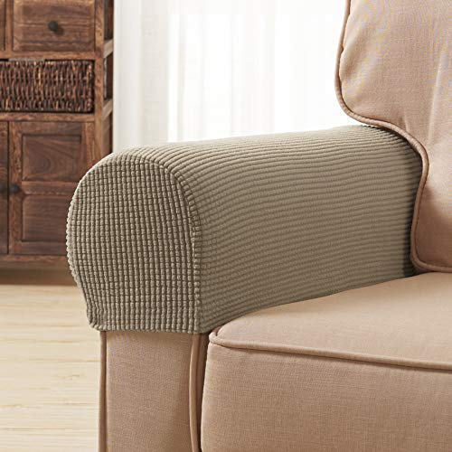 Subrtex Spandex Stretch Fabric Armrest Covers Anti-Slip Furniture Protector Sofa Armchair Slipcovers for Recliner Sofa Set of 2 with Free Twist Pins for Fixing (Camel with Twist Pins) (Armchairs Covers)