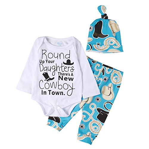 ONE'S Newborn Baby Boys Long Sleeve Cowboy Bodysuit Romper with Pant and Hat 3PCS Outfits (0-3 Months, Blue) ()