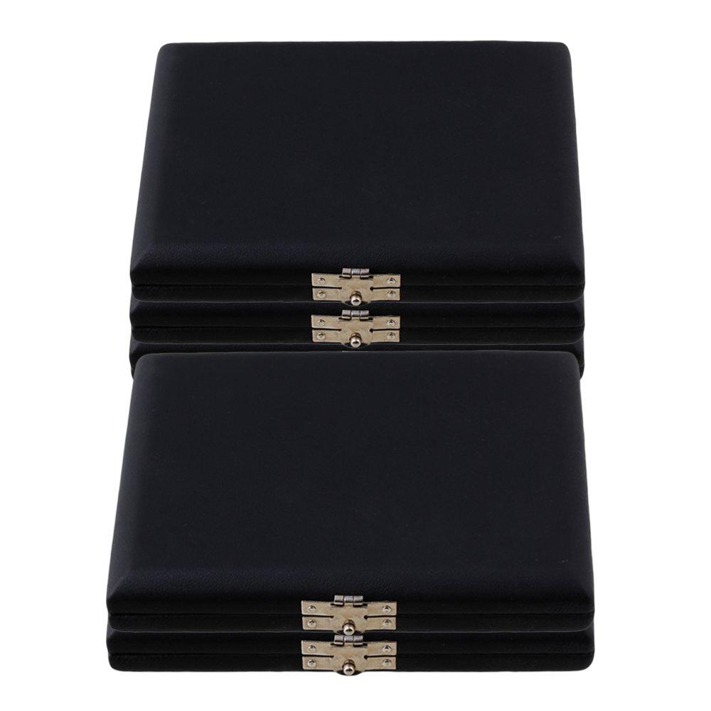 Yibuy PU Leather Saxophone Reed Case Holder for 6 Reeds Black Set of 5