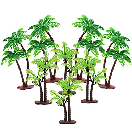 Hatisan 18Pcs Coconut Palm Model Trees/Cake Topper - Charming Cupcake Topper Scenery Model Scenery Model for Cake Decorations or Building Model Landscape