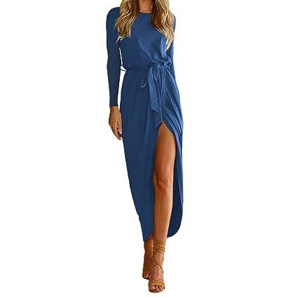 Saihui - Vestido Largo de Verano para Mujer, Estilo Bohemio, Manga Larga, Vestido