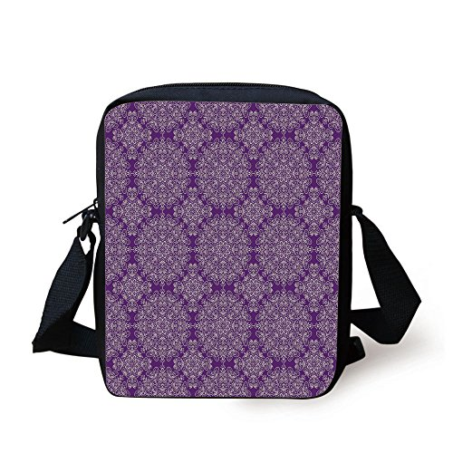 IPrint Purple Mandala,Classic Style Victorian Swirled Floral Branches with Ethnic Effects Design Decorative,White Purple Print Kids Crossbody Messenger Bag Purse