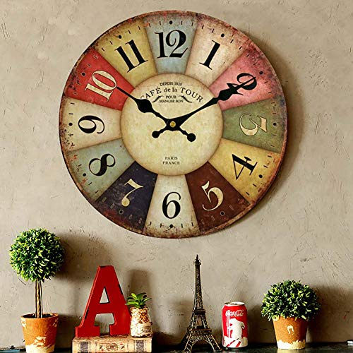 Thick Wood Wall Clock Farmhouse Decorative Clocks for Dinning Living Room,Antique Country Home Decor Clocks Silent Non Ticking,Battery Operated (12inch)