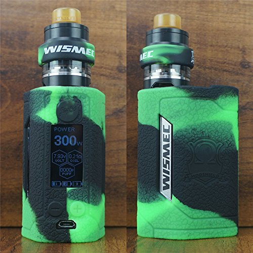 ModShield for Wismec Reuleaux RX GEN3 300W TC Silicone Case & TANK BAND ByJojo GEN 3 Skin Cover Sleeve Shield (Green/Black)