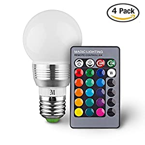Massimo Retro LED Color Changing Light Bulb with Remote Control (4 Pack) 16 Different Color Choices Smooth, Flash or Strobe Mode- Premium Quality & Energy Saving Lamp