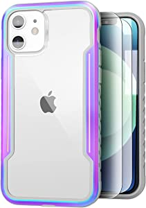 Sicher Defender Designed for iPhone 12 Case/iPhone 12 Pro Case 6.1 Inch, Military Protective, with [2 x Tempered Glass Screen Protector], Edge Shockproof, 6.6Ft Drop Tested, Aluminum Frame, Iridescent