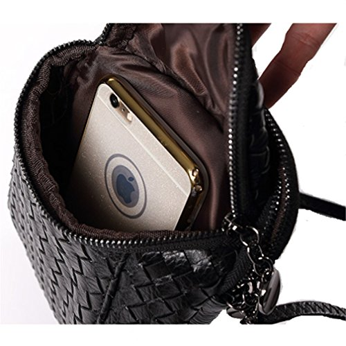 for Leather Zipper Dual Bag Shoulder Crossbody 7s Women��s Bag Layers Purse Plus Champagne Woven Gold Messenger iPhone Small Girls fxOq8B