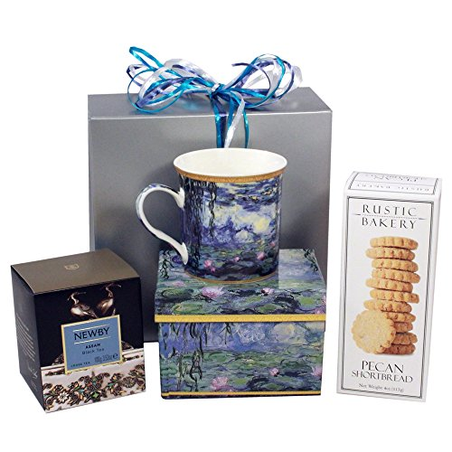Tea Mug Gift Set Box, Newby Teas Fine English Tea Gift with Water Lily Mug from England, Rustic Bakery Famous Shortbread Tea Cookies Gift