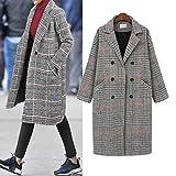 Plus Size Winter Coat Inverlee Women Lattice Warm Thickening Woolen Cloth Overcoat
