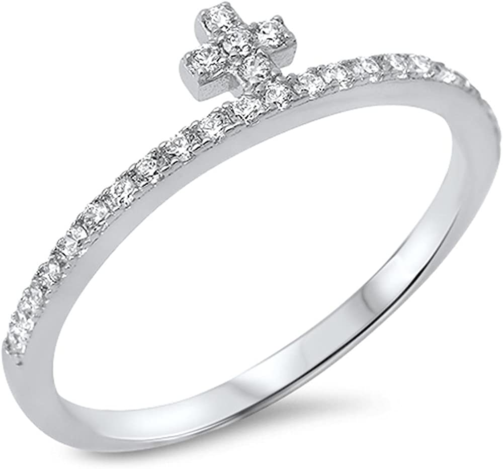 Princess Kylie Clear Cubic Zirconia Mini Cross Ring Sterling Silver