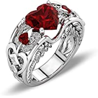 phitak shop Princess 925 Silver Red Ruby Gemstone Birthstone Wedding Engagement Heart Ring (7)