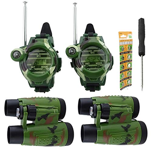Hsility Walkie Talkies Watch for Kids Two-Way Long Range Watches Radio Transceiver with Binoculars for Children Cool Outdoor Activity Toys Gifts for Girls & Boys (Walky Talky Watch)