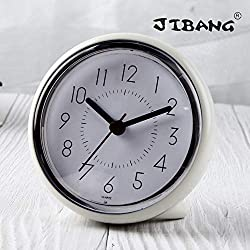 JIBANG Bathroom Wall Clock, Waterproof Suction Cup Silent Non Ticking Clocks with Stand for Desk Bedroom Home Office School (4 Inch, White)