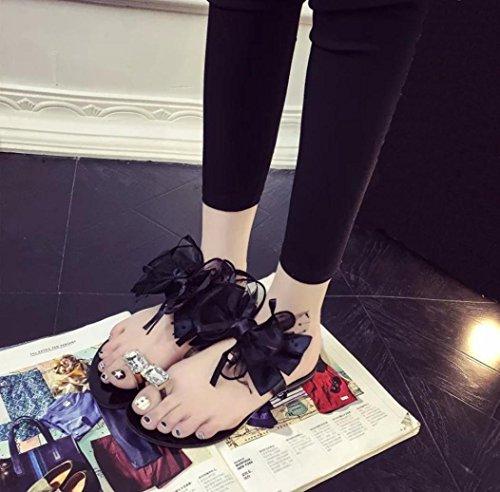 LHWY Sandalen Damen Zehentrenner, Frauen Mädchen Blume Bogen Flache Ferse Zehe Sandalen Slipper Strand Schuhe Casual Fashion Streetwear Schuhe Schwarz Grau Schwarz