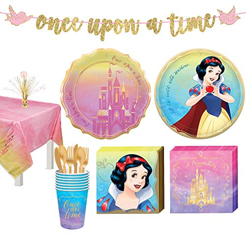 Snow White Centerpieces (Party City Disney Princess Snow White Tableware Kit for 8 Guests, Includes Cups, Cutlery, Napkins, Plates, and)