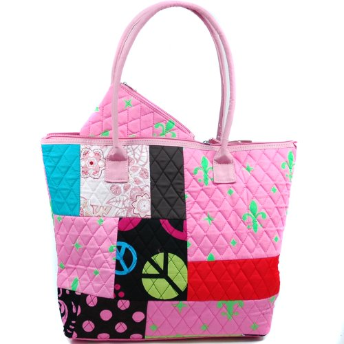 Dasein Women's Patchwork Design Quilted Bag w/ Fleur De Lis Accent -Pink/Green (Quilted Lis De Fleur)