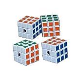 Qm-h Set 4-pack Mini 3x3x3 Classical Speed Puzzle Magic Cubes Stickerless White 1.18''