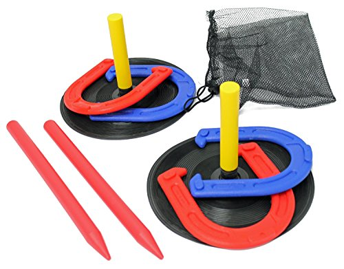 Indoor Outdoor Horseshoes Game Set With Travel Bag for Kids Family Outside Backyard Lawn Activities Toy Horse Shoe Toss Children Boys Girls Yard Pool Party Games for Summer Camp by Perfect Life Ideas