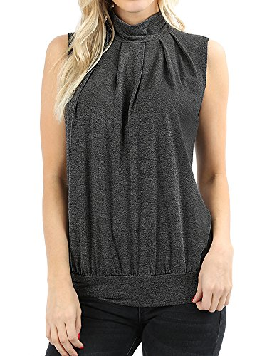 (The Lovely Charcoal Women Sleeveless Mock-Turtleneck Pleated Top with Waistband in L)