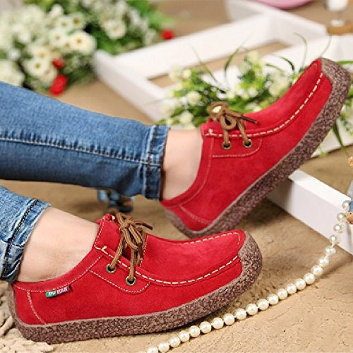 Spring Women Mens PU Leather Shoes Woman Hand-sewn Suede Leather Flats Cowhide Flexible Boat Shoes Women Sneakers Plus Size (Ladies Genuine Suede Leather)