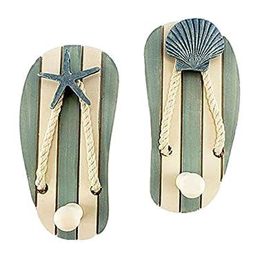 Set of 2 Wood Sandal Wall Hooks - New