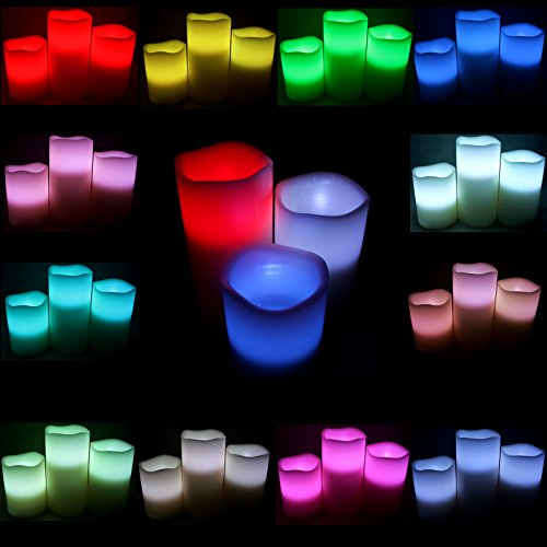 We Can Package LED Flameless Wax Pillar Candle Lights with 12 Changing Colors Remote 3pcs/pk