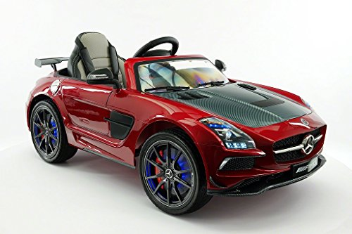 2018 LICENSED MERCEDES SLS AMG LIMITED | LEATHER | LED TRIM | ELECTRIC KIDS RIDE-ON CAR | MP3 + MP4 COLOR LCD ENTERTAINMENT SYSTEM | REMOTE CONTROL + 5 POINT SAFETY (1 YEAR WARRANTY) | CHERRY METALLIC -