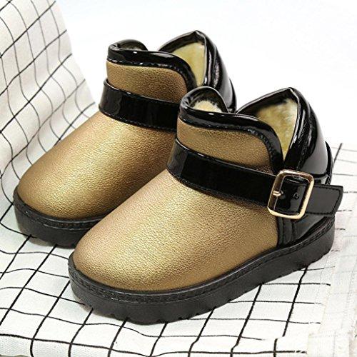 Ouneed® Stiefel Stiefeletten , Mädchen Jungen Martin PU Leather Stiefel Wasserdicht Kurz Schlupfstiefel Winter Kinder Schuhe Schnür Ankle Boots Baby Gold