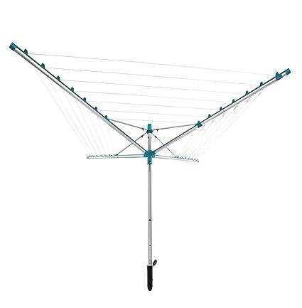 Leifheit Linomatic 400 Giratorio De Jardín Para Tender Ropa, Tenderete Vertical Con Sistema Easy Lift, Tendedero Exterior Con 40 m de Cuerda