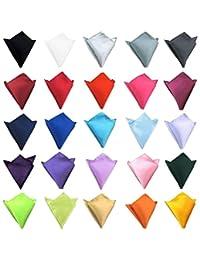 Mens Pocket Squares Wedding Party Handkerchief Polyester Silk Satin Hanky Solid Color