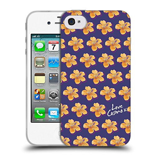 Official Cosmopolitan Hibiscus Pattern Tropical Soft Gel Case for Apple iPhone 4 / 4S