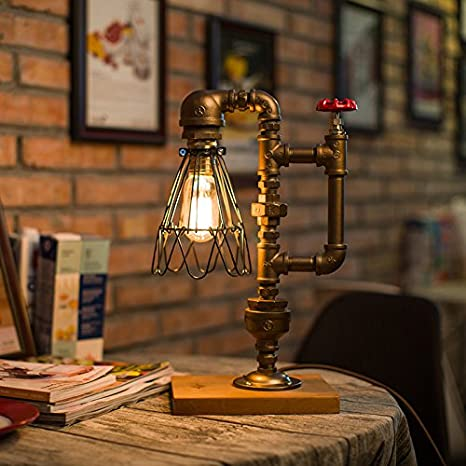 Pipe Desk Lamp Vintage Kettle Style Table Light Industrial Iron Pipe Desk Table Lamp Night Light Square Base