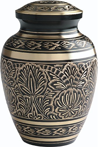 UrnConcern Classic Cremation Urn  Hand Engraved Solid Brass With Black  Lacquer Coat 3