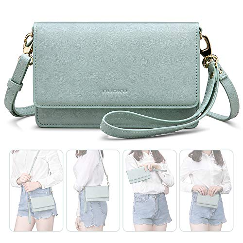 (nuoku Women Small Crossbody Bag Cellphone Purse Wallet with RFID Card Slots 2 Strap Wristlet(Max 6.5'')(Green))