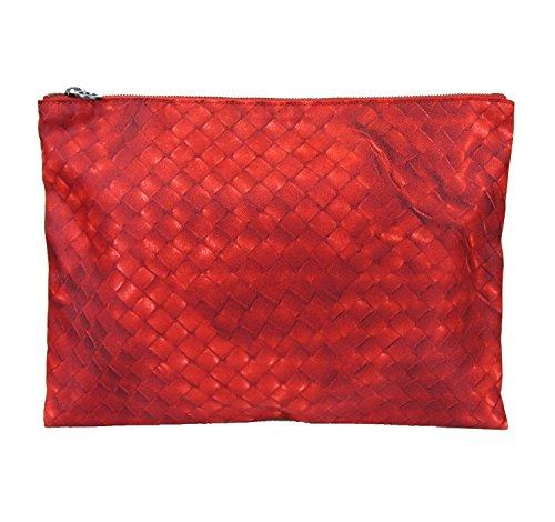 Bottega Veneta Red Pouch Intrecciolusion Nylon Cosmetic Bag 301493 6520 by Bottega Veneta