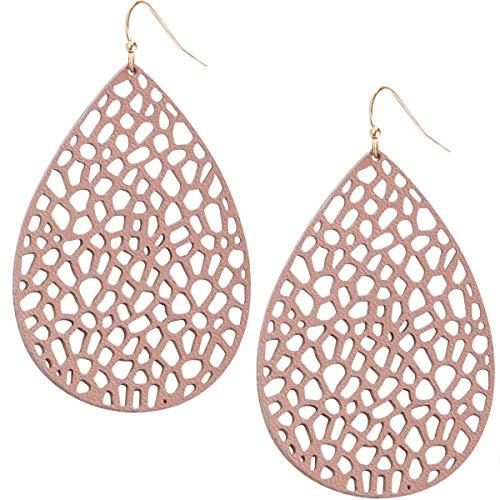 (Humble Chic Vegan Leather Earrings for Women - Teardrop Leaf Dangle Statement Filigree Dangling Lightweight Boho Vintage-Style Drops, Dusty Rose Teardrop, Light Pink, Mauve, Gold-Tone )