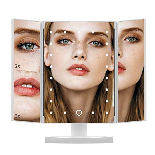 DIOZO Makeup Mirror, 1X2X3X Magnification 21 LED Lighted Tri-fold Cosmetic Vanity Mirror with Touch Dimmer Switch, Battery and USB Powered (White)