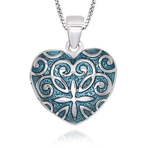 """925 Sterling Silver Blue Enamel Filigree Heart Locket Necklace, 18"""""""