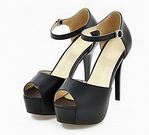 WeenFashion Toe Open Sandals Solid Pu Heels Buckle CA18LB05201 Women's Black High 66RrS