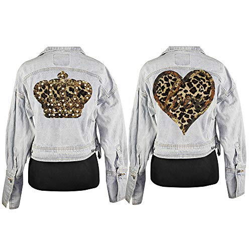 Beaded Patches Fashion Heart Crown Sequins Badges Love Leopard Fabric Applique Sew on Clothes Repair Decorated 2piece
