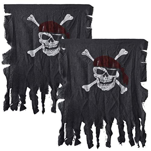 Retro Halloween Fabric (Jerbro Pirate Flag, 2pcs Retro Fabric Skull Flag for Halloween Pirate Party bar Kids Room Decoration (2.7 by 2.4)