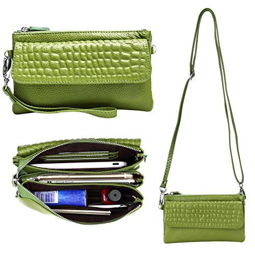 - Women Soft Genuine Leather Smartphone Wristlet Purse Cell Phone Cross Body Bag Wallet Clutch Handbag with Card Slots/Shoulder Strap (Grass Green)