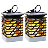 Hallomall Outdoor Solar Hanging Lights, Solar Lanterns Waterproof IP55 with Dancing Flame Effect 75LED for Garden Patio Umbrella Lamp Tree Pool Pavilion Lawn Porch Decor- 2 Pack
