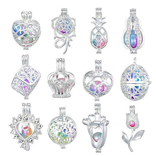- New Arrival Christmas Gifts 12 Pcs Bright Silver Cute Pearl Bead Cages Pendant Wholesale - Essential Oil Scent Diffuser Locket Cage Charms for DIY Bracelet Necklace Earrings Jewelry Making (Style3)
