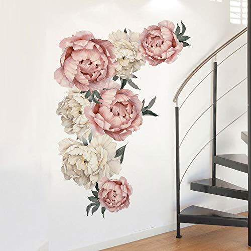 Aukeoss Peony Flowers Wall Sticker Waterproof PVC Wall Decals for Living Room Bedroom Kitchen Playroom Nursery Room