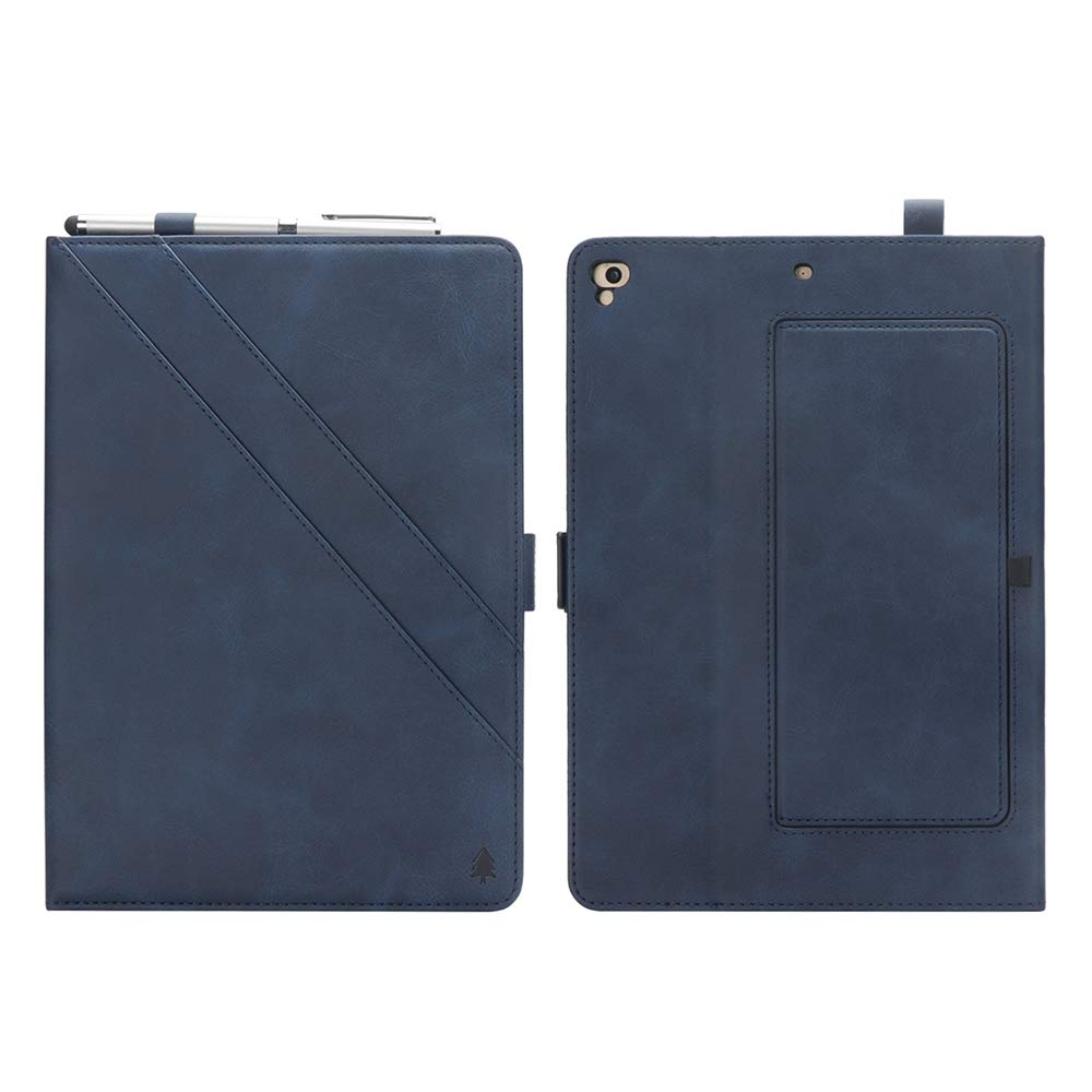 New iPad 12.8'' Case for Men, YiMiky Luxury Book Style Folding Stand Case with Document Pocket Card Slots Folio Smart Case Protective Cover Slim Stand Shell for iPad Pro 12.8 Inch - Dark Blue by YiMiky (Image #2)